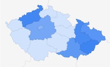 Řecko - zájem podle regionů ČR Zdroj: Google Trends