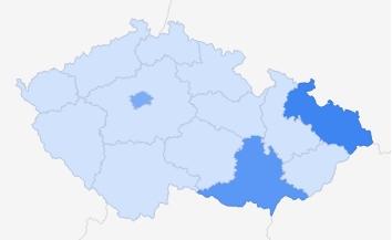 Španělsko - zájem podle regionů ČR Zdroj: Google Trends