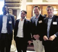 Na snímku zleva: Epson Kasuto, ředitel marketingu NWR, Paddington Tucker, ředitel společnosti Travel Advance, zástupce Abenteuer Afrika Safari v ČR, Matthias Lemcke, Marketing Manager pro Evropu, Namibia Tourism Board, a Ivan Vodička, ředitel společnosti Aviareps v ČR (GSA Air Namibia). Foto: Vlaďka Bratršovská