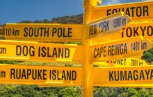 The world's southernmost signpost in Bluff, South Island, New Zealand. Global signpost shows world distances measured from Bluff, tourist destination.