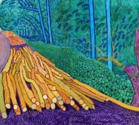 "David Hockney ""More Felled Trees on Woldgate"" 2008 Oil on 2 canvases (60 x 48"" each) 60 x 96"" overall © David Hockney Photo Credit: Richard Schmidt"