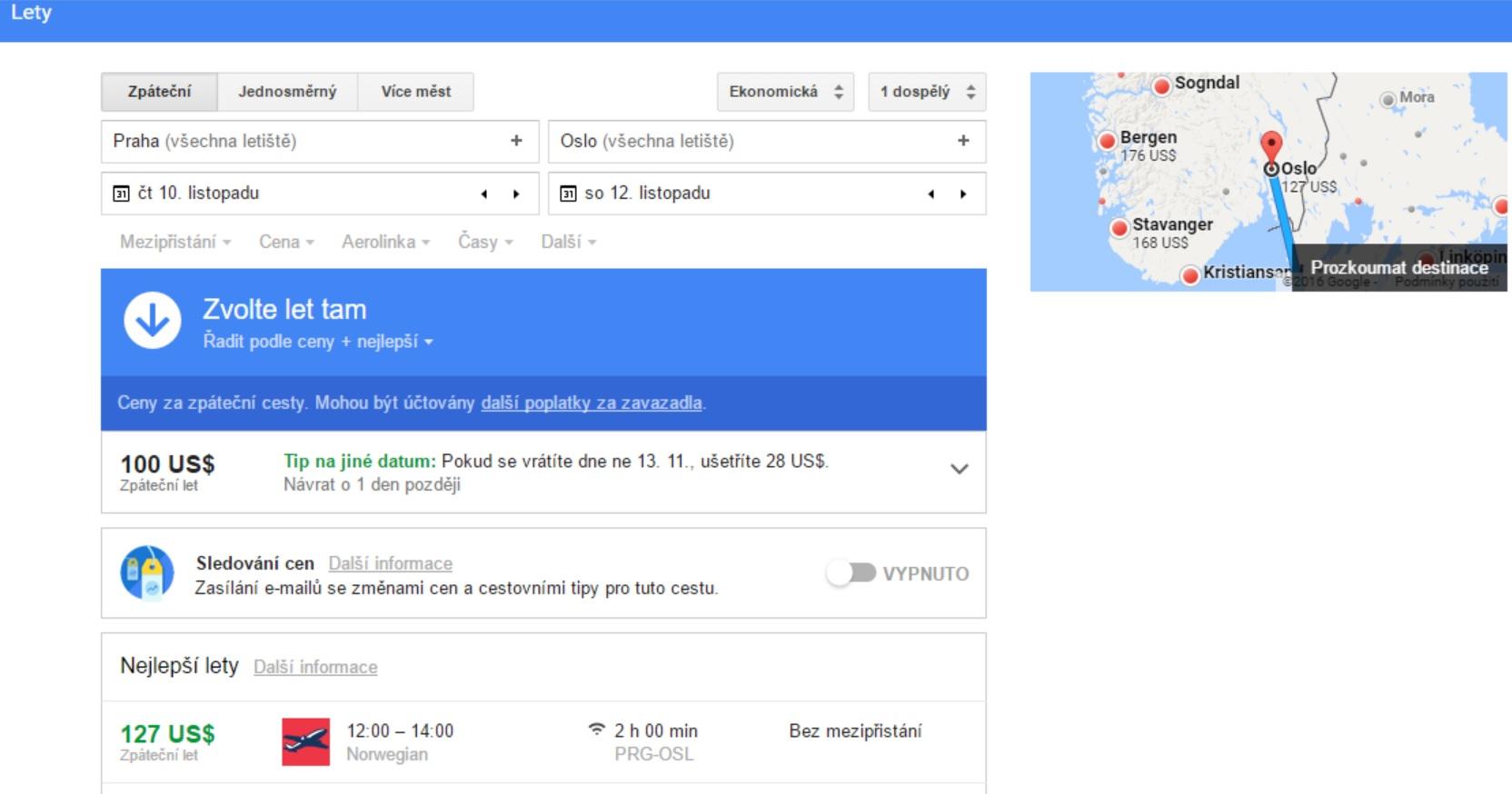 Vyhledávání letů pomocí Google Flights. Zdroj: Google Flights