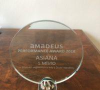 Asiana se stala nejlepším českým prodejcem společnosti Amadeus za rok 2018