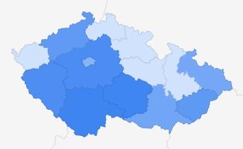 Itálie - zájem podle regionů ČR Zdroj: Google Trends