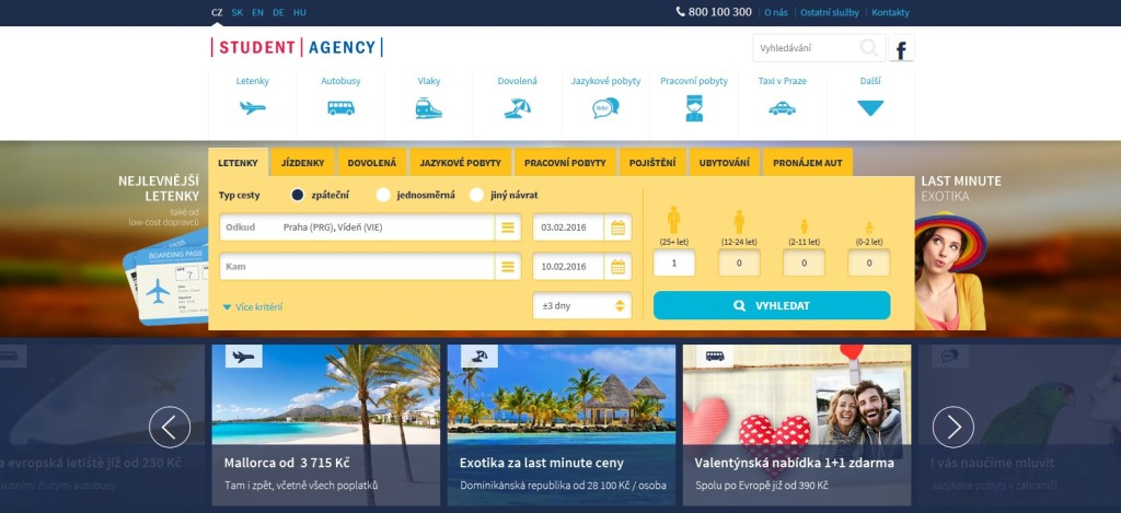 Nový web Student Agency