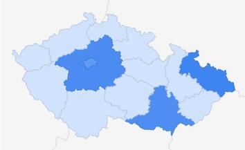 Turecko - zájem podle regionů ČR Zdroj: Google Trends