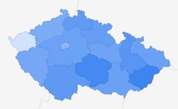 Chorvatsko - zájem podle regionů ČR Zdroj: Google Trends